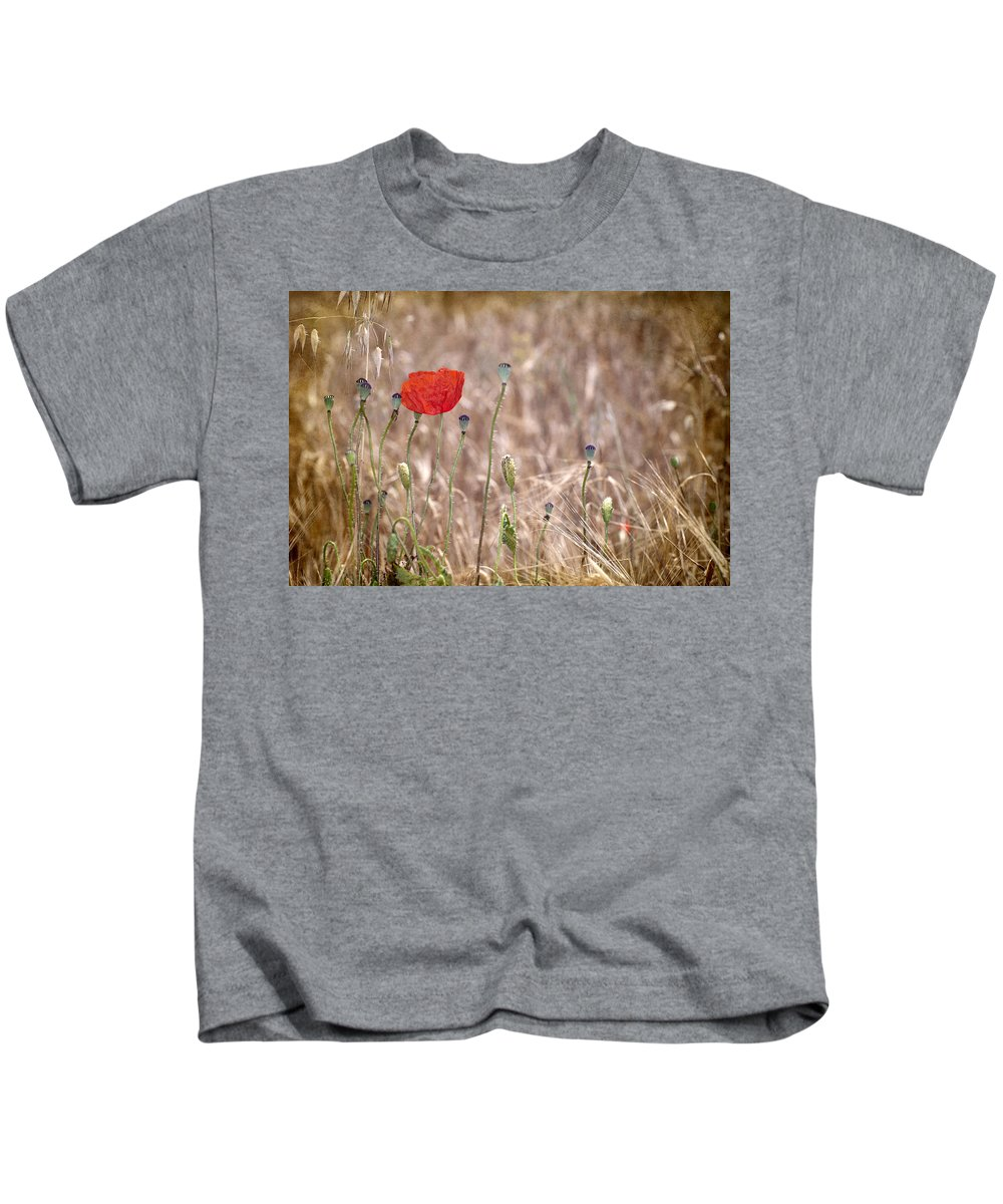 Poppy Kids T-Shirt featuring the photograph Lonely Poppy by Guido Montanes Castillo