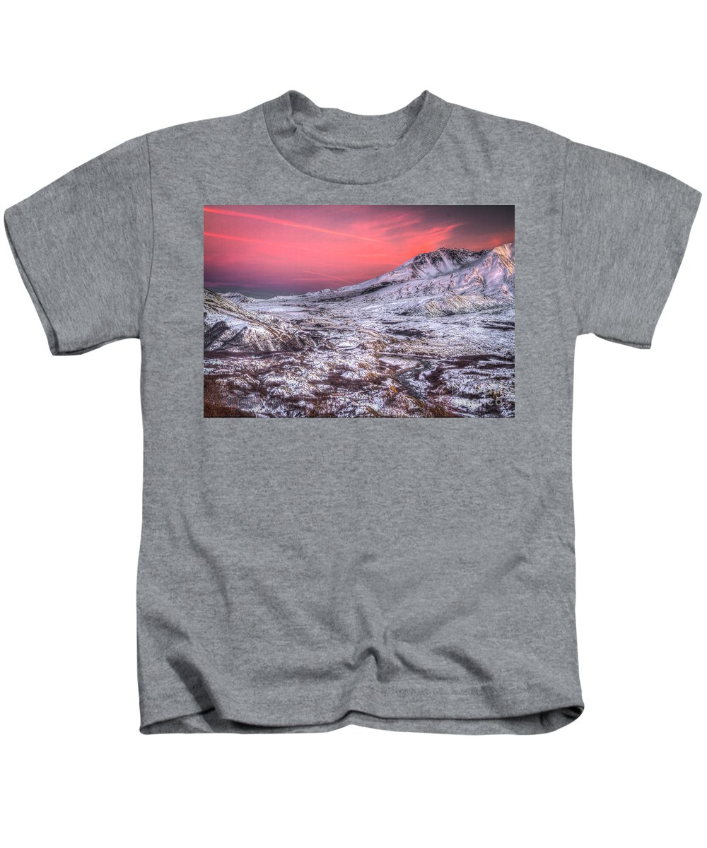 Mt St Helens Kids T-Shirt featuring the photograph Mt. St. Helens Sunset by Matt Hoffmann