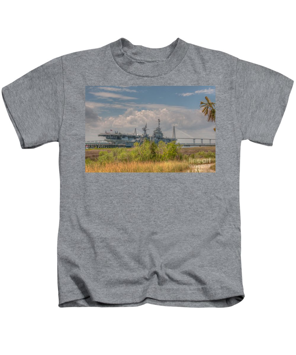 Patriots Point Kids T-Shirt featuring the photograph Patriots Point Maritime by Dale Powell