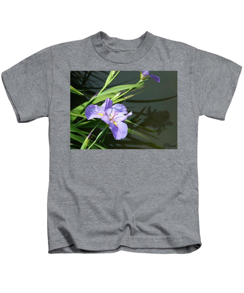 Purple Iris Reflection Kids T-Shirt featuring the painting Purple Iris Reflection by Ellen Henneke
