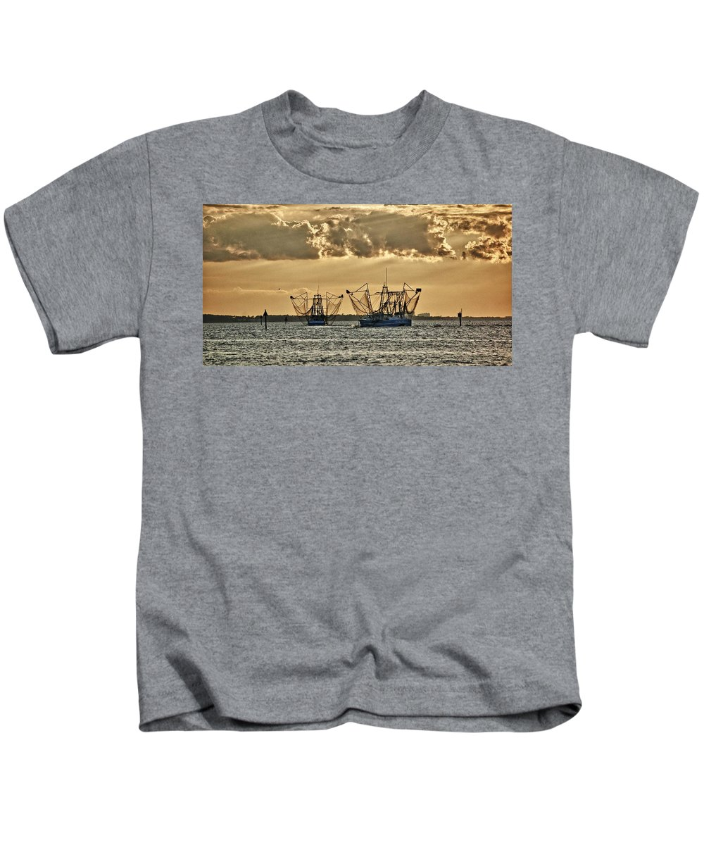 Alabama Kids T-Shirt featuring the digital art 2 Shrimper Going To Sea by Michael Thomas