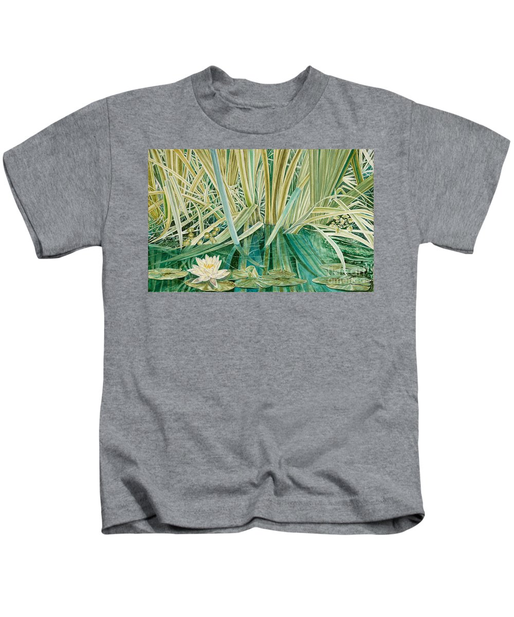 Waterscape Kids T-Shirt featuring the painting Silent Contempt by John Wilson