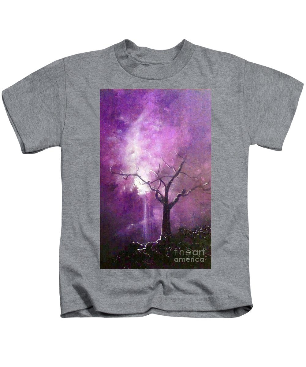 Tree Kids T-Shirt featuring the painting Skyeden Night by Stefan Duncan