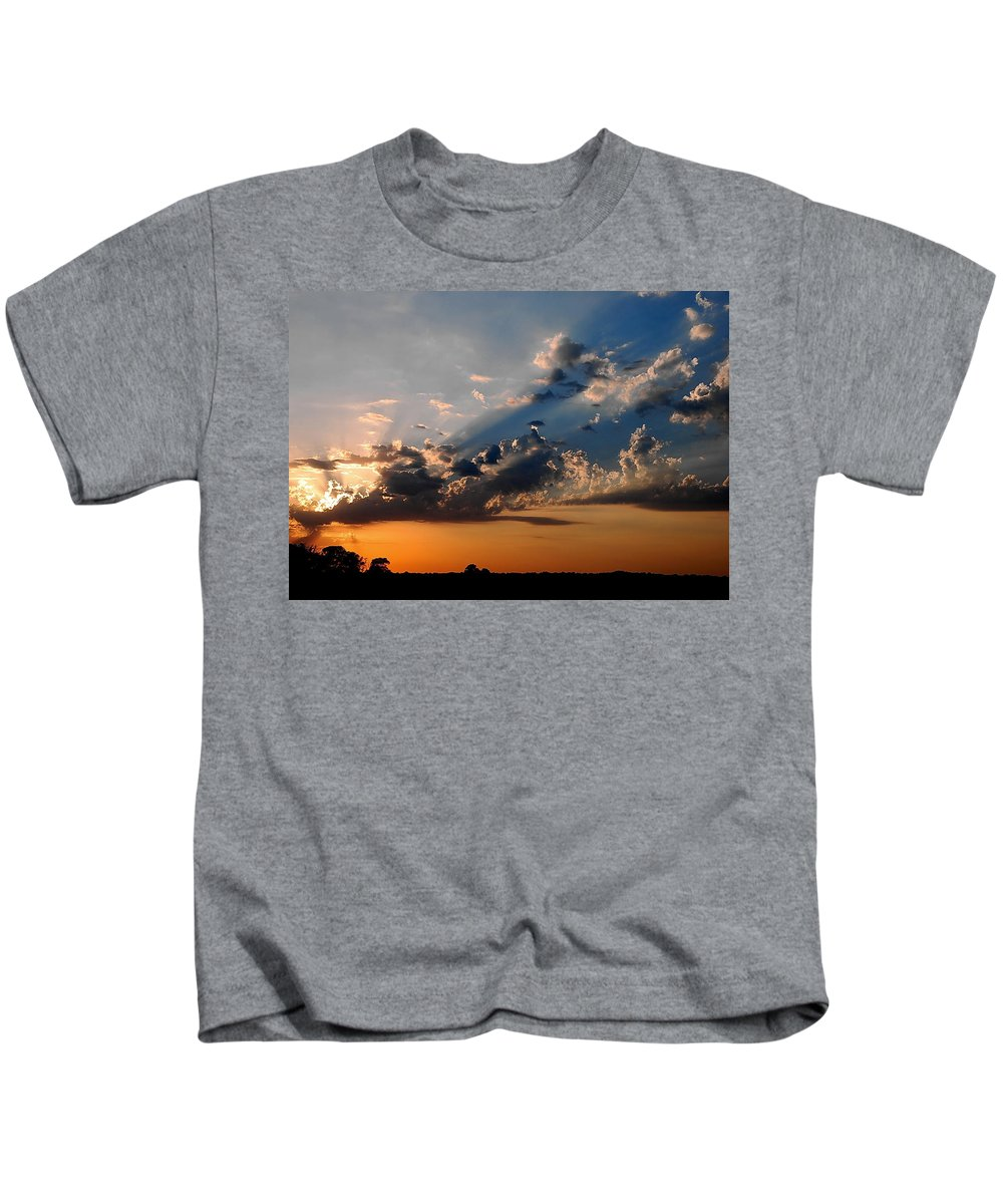 Sun Kids T-Shirt featuring the photograph Sunset In Seaford by Francie Davis