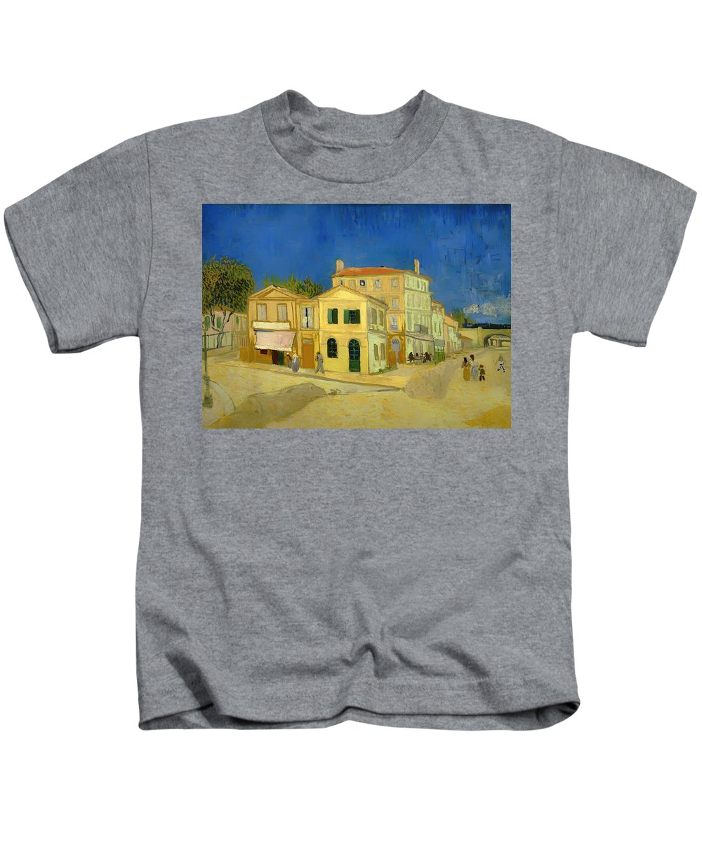 Painting Kids T-Shirt featuring the painting The Yellow House by Mountain Dreams
