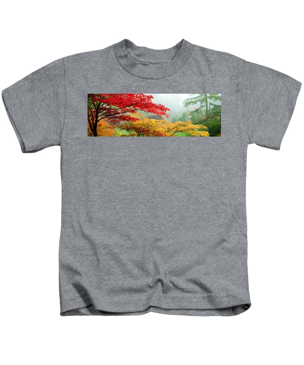 Photography Kids T-Shirt featuring the photograph Trees In A Garden, Butchart Gardens by Panoramic Images