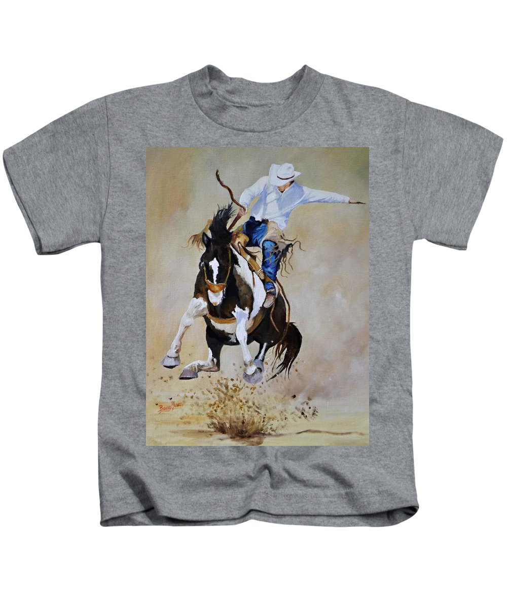 Rodeo Kids T-Shirt featuring the painting Trying For A 90 by Barry BLAKE