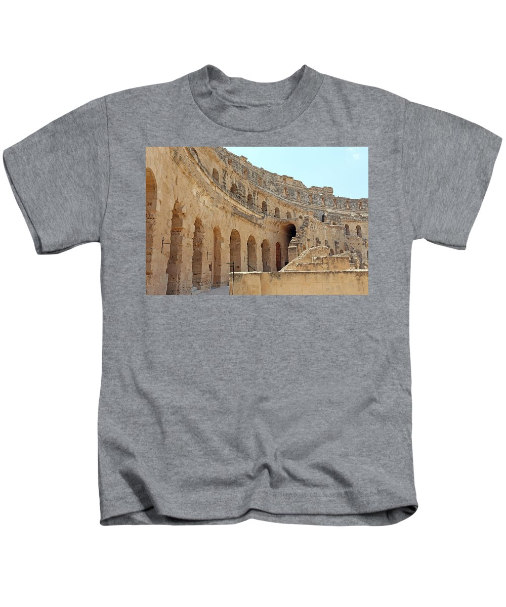 Colosseum Kids T-Shirt featuring the photograph Amphitheatre by Paul Fell