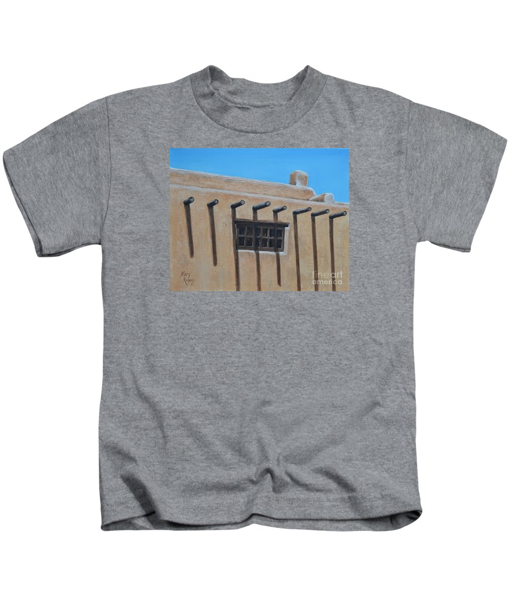 Adobe Kids T-Shirt featuring the painting 2nd Floor Window by Mary Rogers