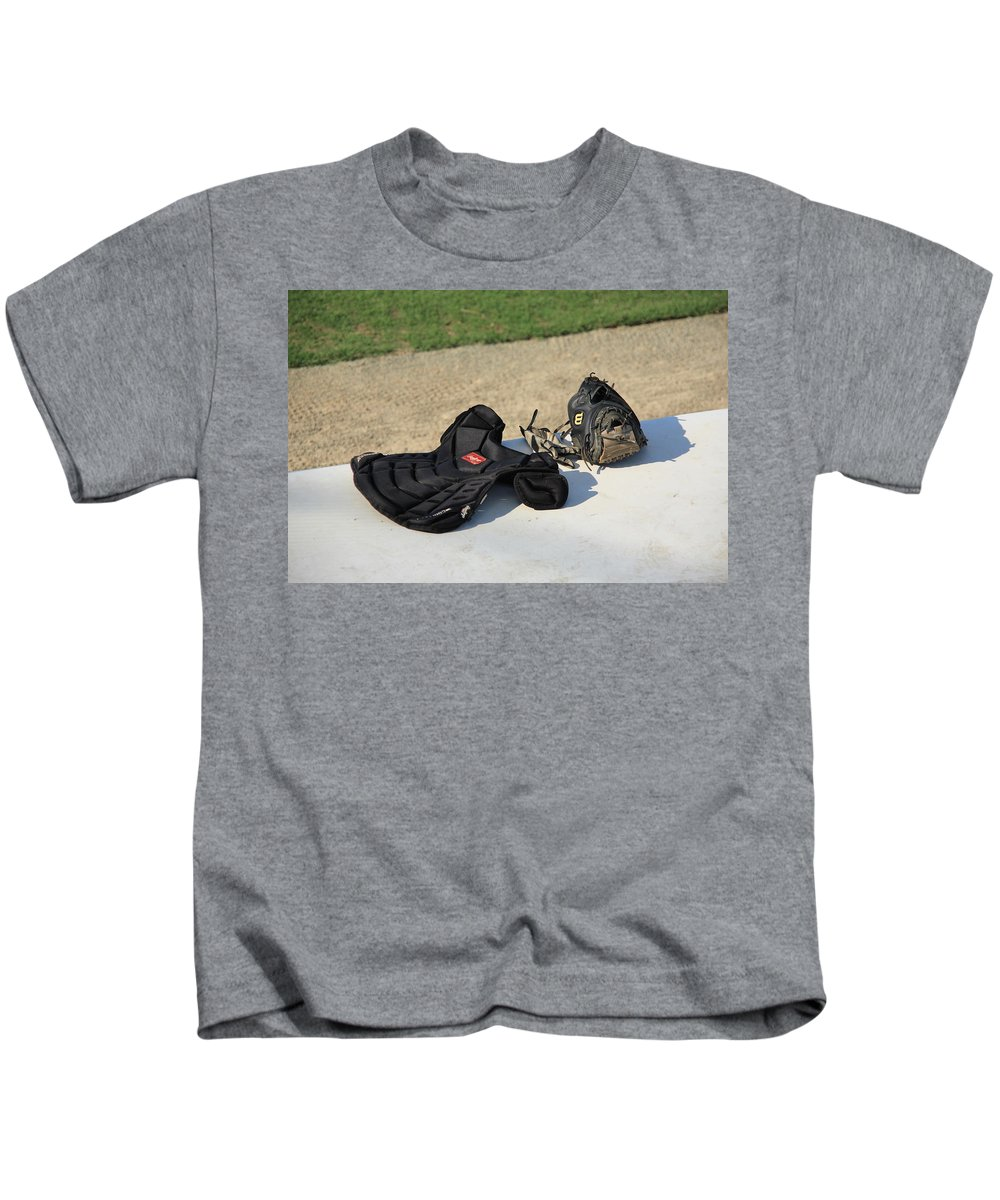 America Kids T-Shirt featuring the photograph Baseball Glove And Chest Protector by Frank Romeo