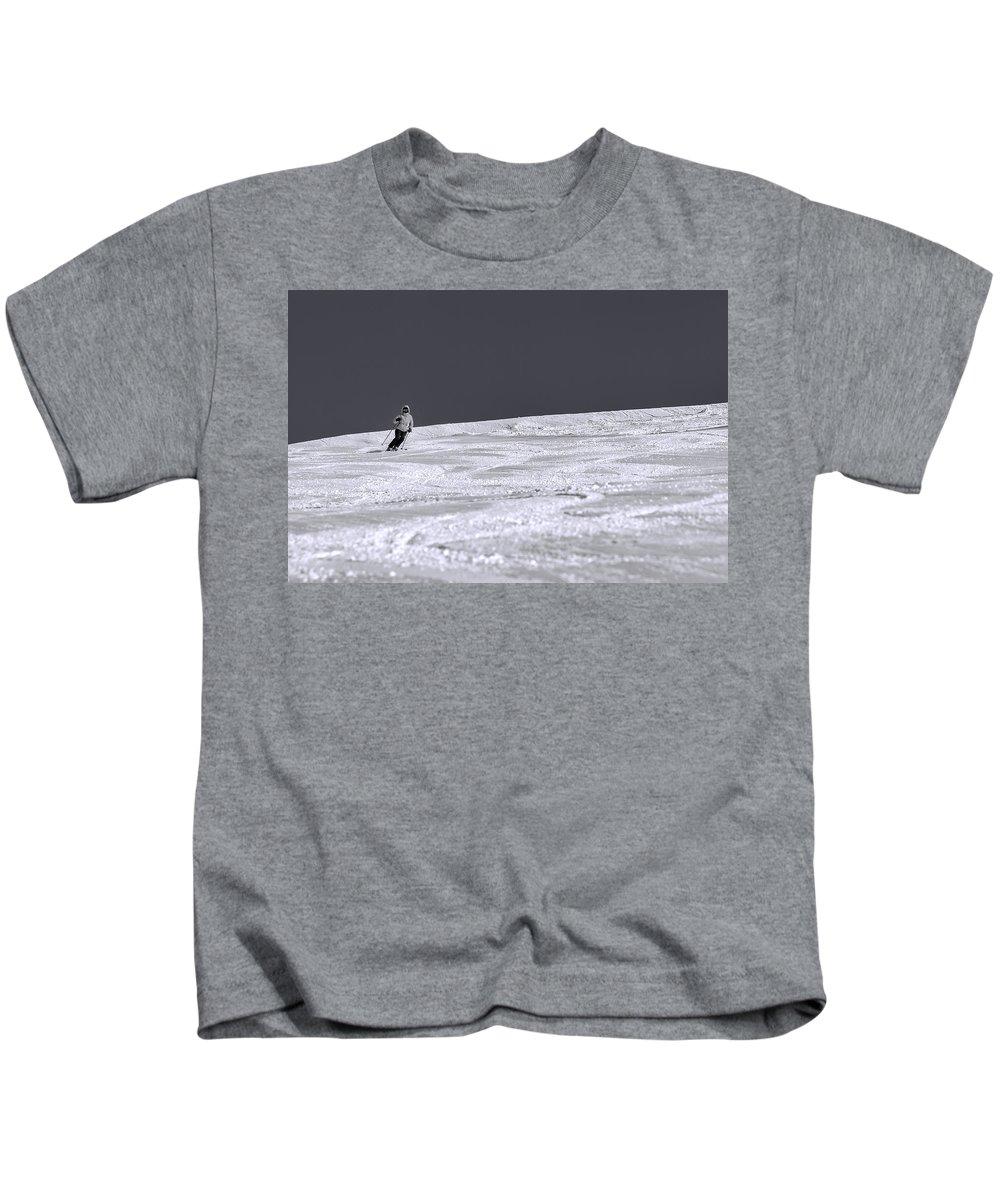 Blue Kids T-Shirt featuring the photograph First Run by Sebastian Musial