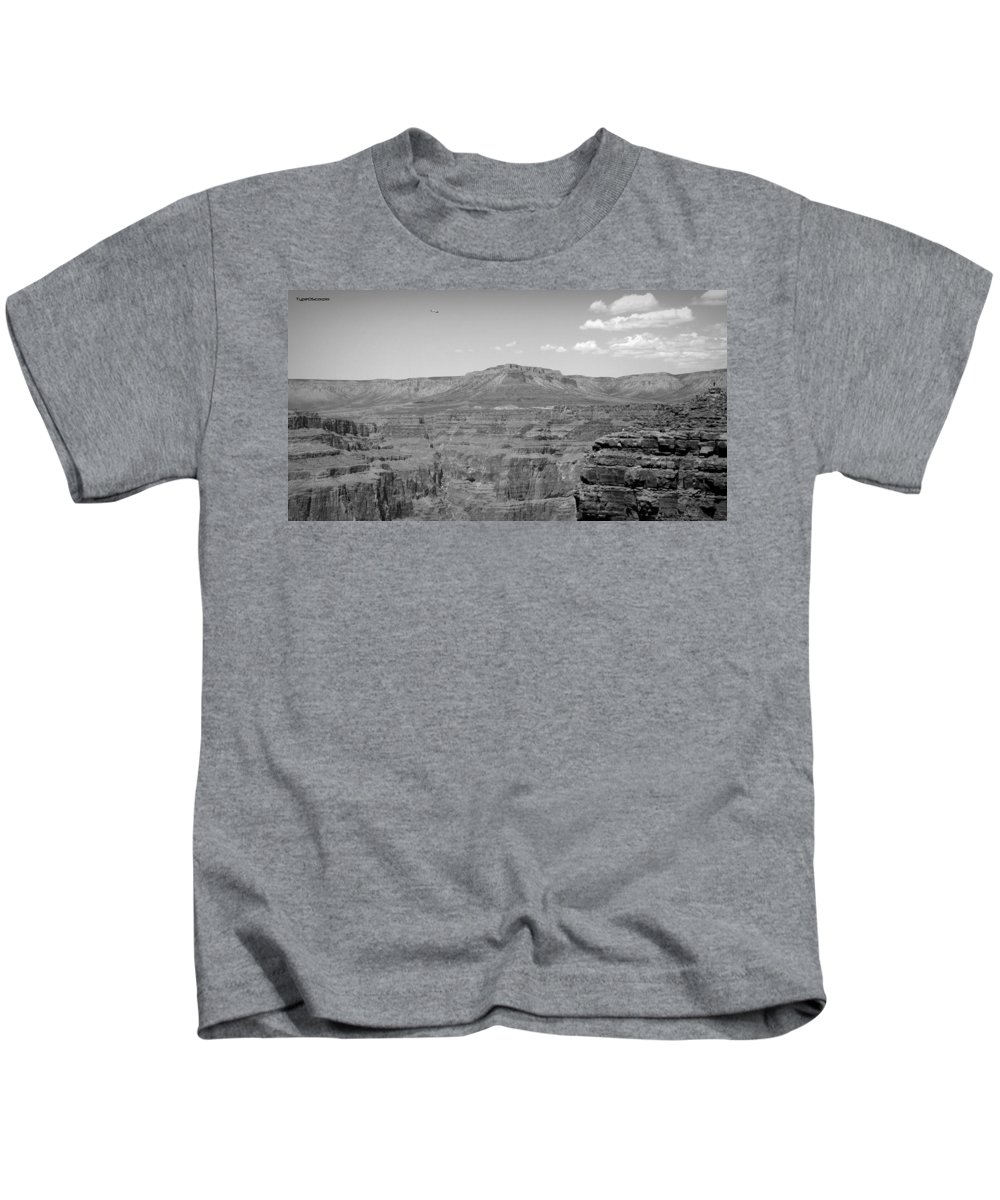 Black And White Kids T-Shirt featuring the photograph Grand Canyon by James Markey