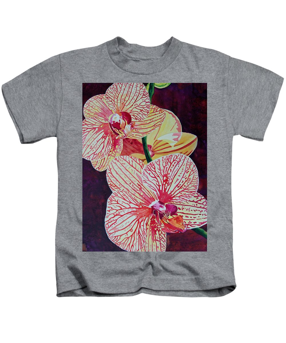 Orchids Kids T-Shirt featuring the painting Orchids by Terry Holliday