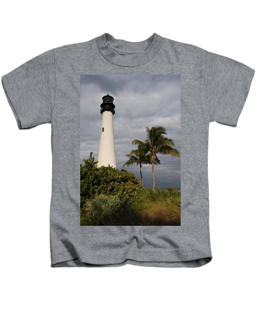 Lighthouse Kids T-Shirt featuring the photograph Cape Florida Lighthouse by Christiane Schulze Art And Photography