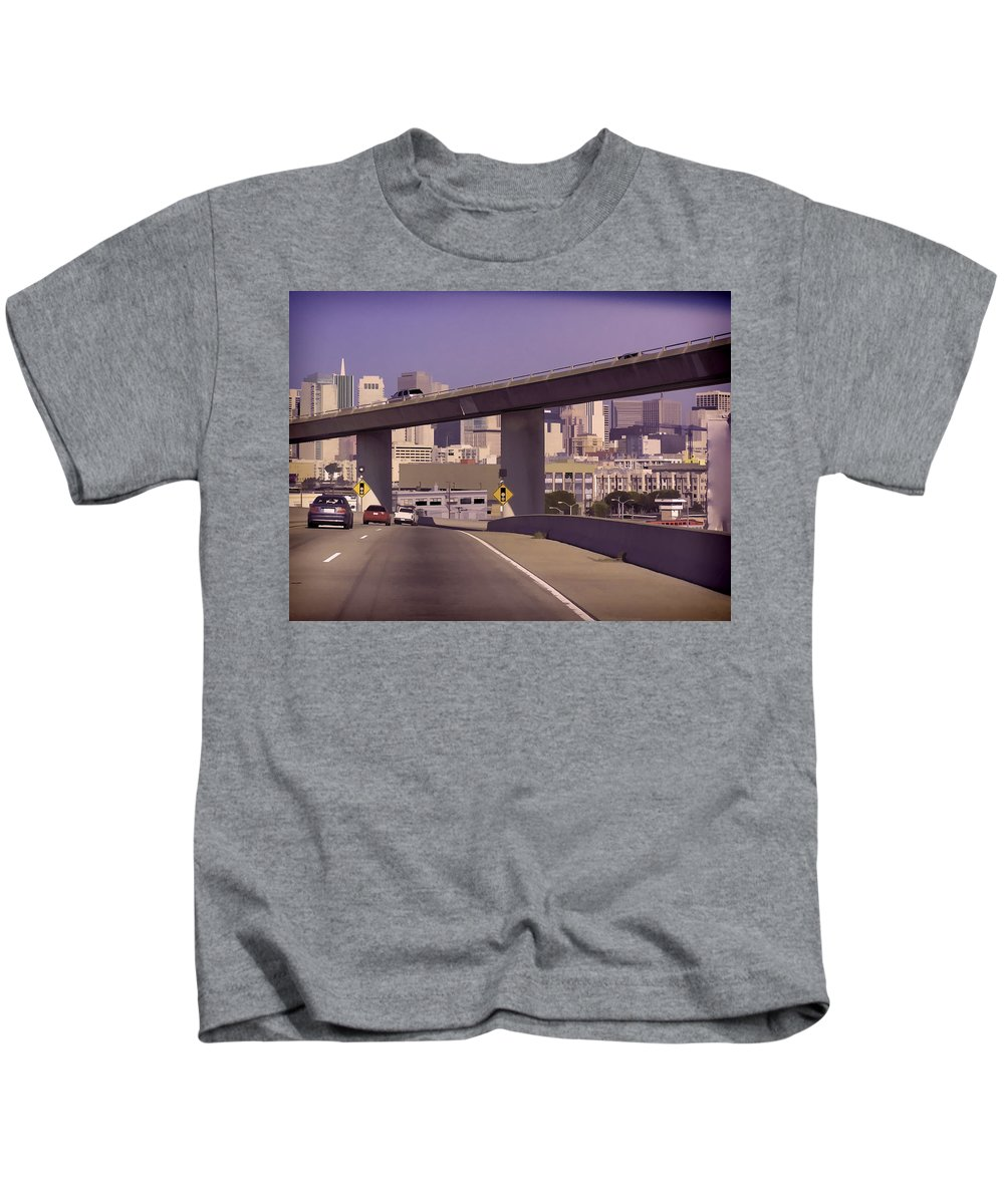 Cars Kids T-Shirt featuring the photograph Heading Into The Busy Part Of San Francisco by Ashish Agarwal