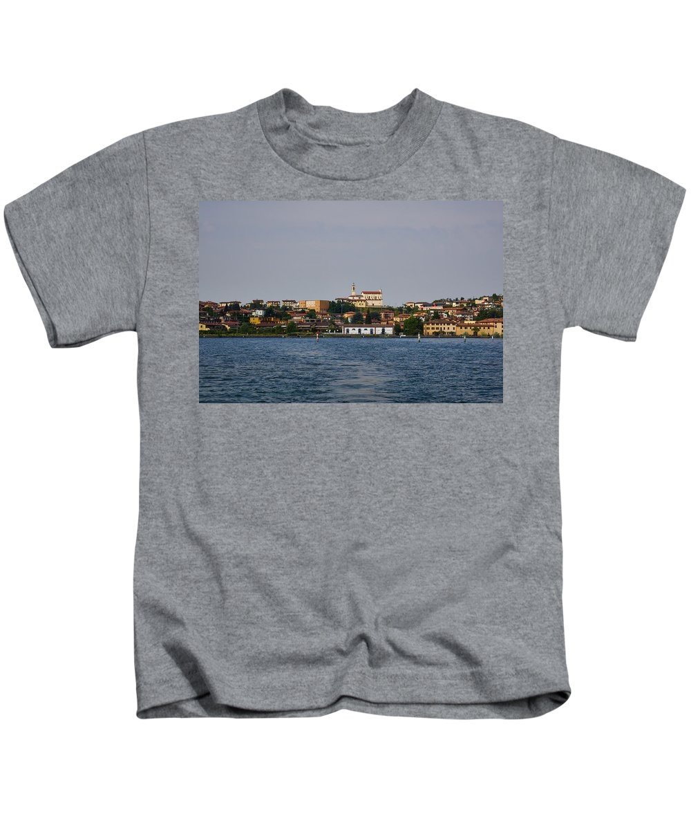 Francacorta Kids T-Shirt featuring the photograph Lago Di Iseo by Jouko Lehto