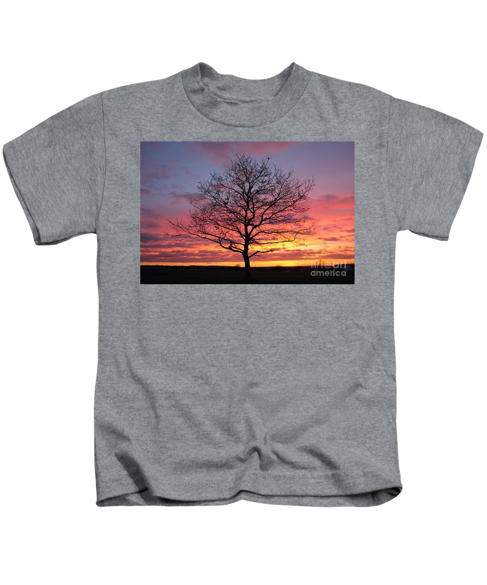 Spectacular Sunset Epsom Downs Surrey Uk Dusk Pink Sky Twilight Tree Silhouette Orange Sun Set Down English England Branches Lone Kids T-Shirt featuring the photograph Spectacular Sunset Epsom Downs Surrey Uk by Julia Gavin