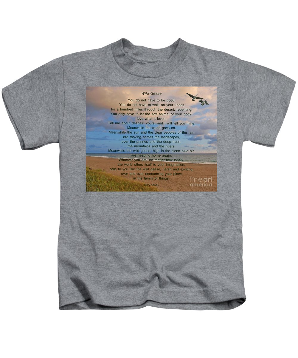 Wild Geese Kids T-Shirt featuring the photograph 40- Wild Geese Mary Oliver by Joseph Keane