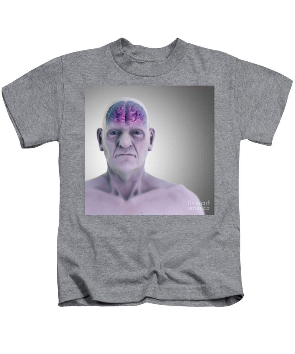 3d Visualisation Kids T-Shirt featuring the photograph Geriatric Brain by Science Picture Co