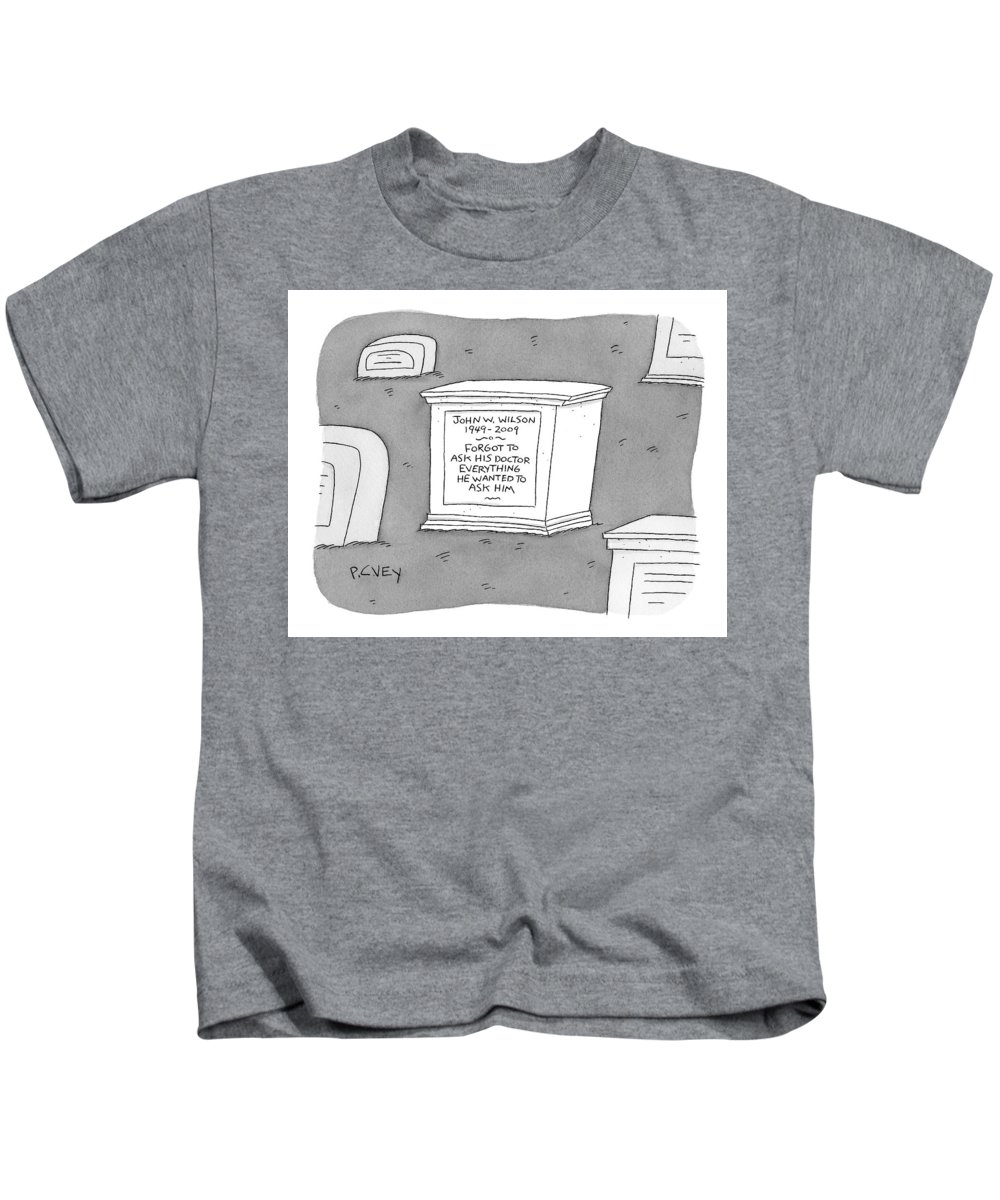 Graveyards Kids T-Shirt featuring the drawing (a Tombstone For John W. Wilson Reads forgot by Peter C. Vey