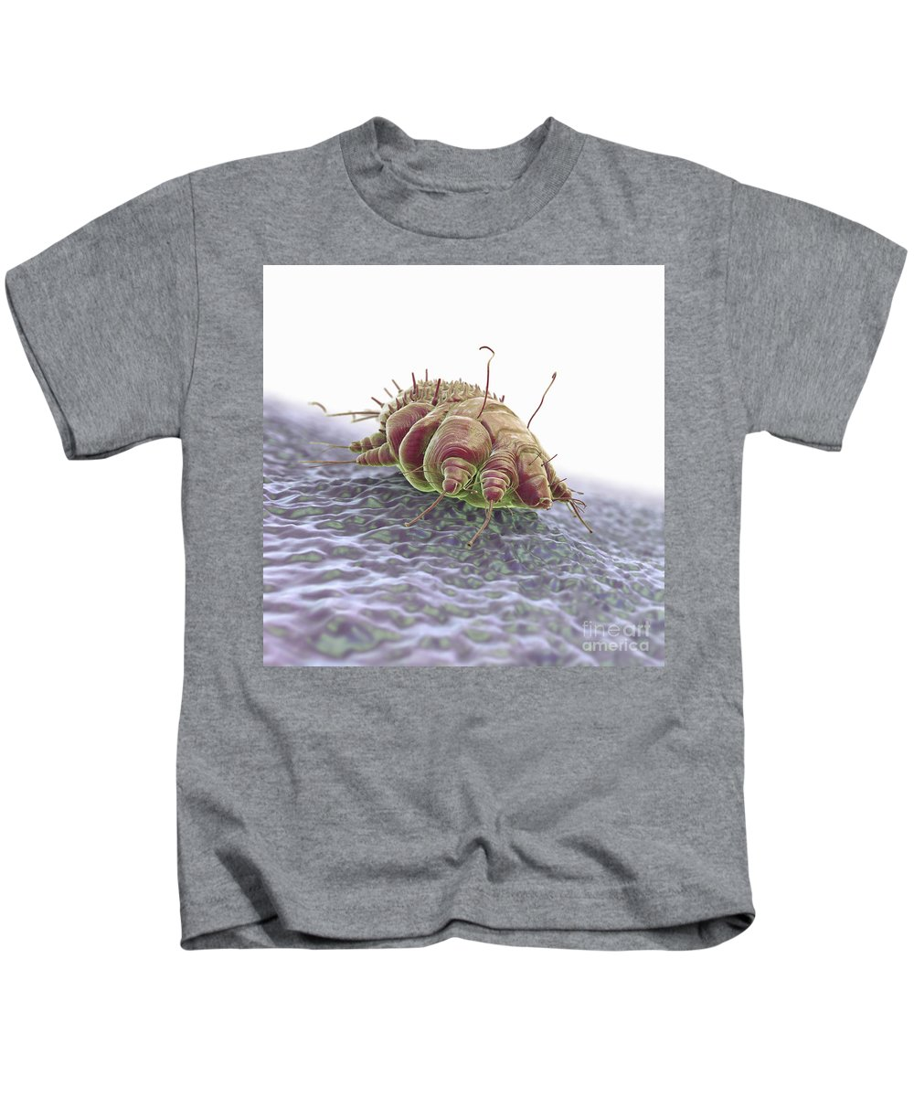 Close-up Kids T-Shirt featuring the photograph Scabies Mite by Science Picture Co