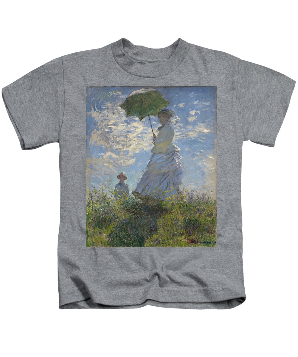 Claude Monet Kids T-Shirt featuring the painting Woman With A Parasol by Claude Monet