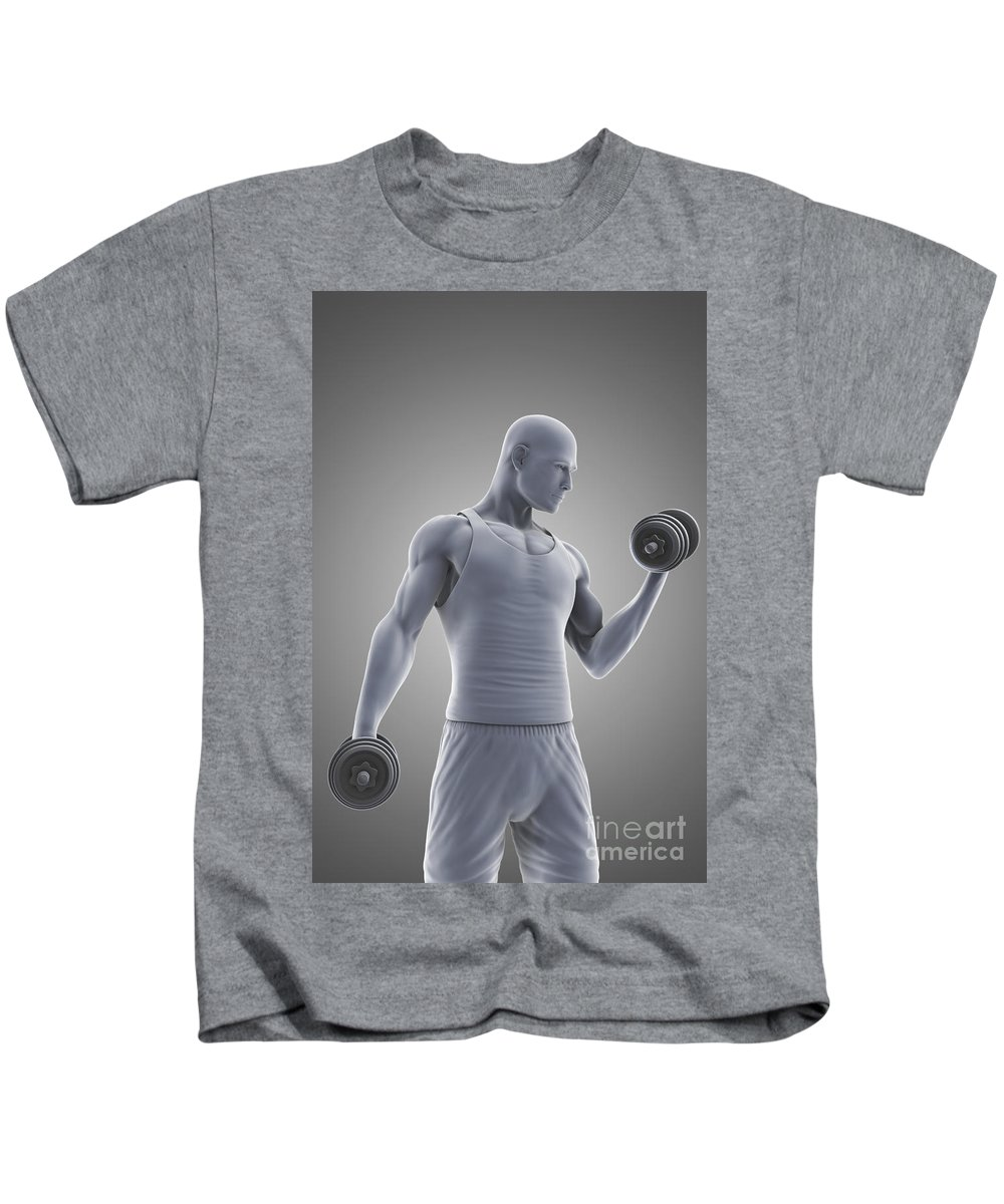 Dumbbell Kids T-Shirt featuring the photograph Exercise Workout by Science Picture Co
