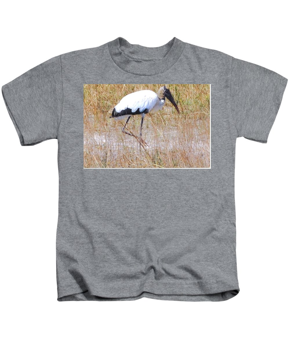 Wading For Food Kids T-Shirt featuring the photograph Wood Stork by Robert Floyd