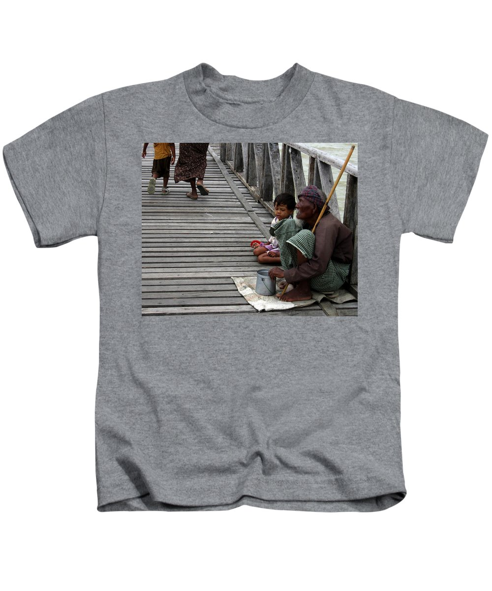 Lake Kids T-Shirt featuring the photograph A Beggar On The U Bein Bridge by RicardMN Photography