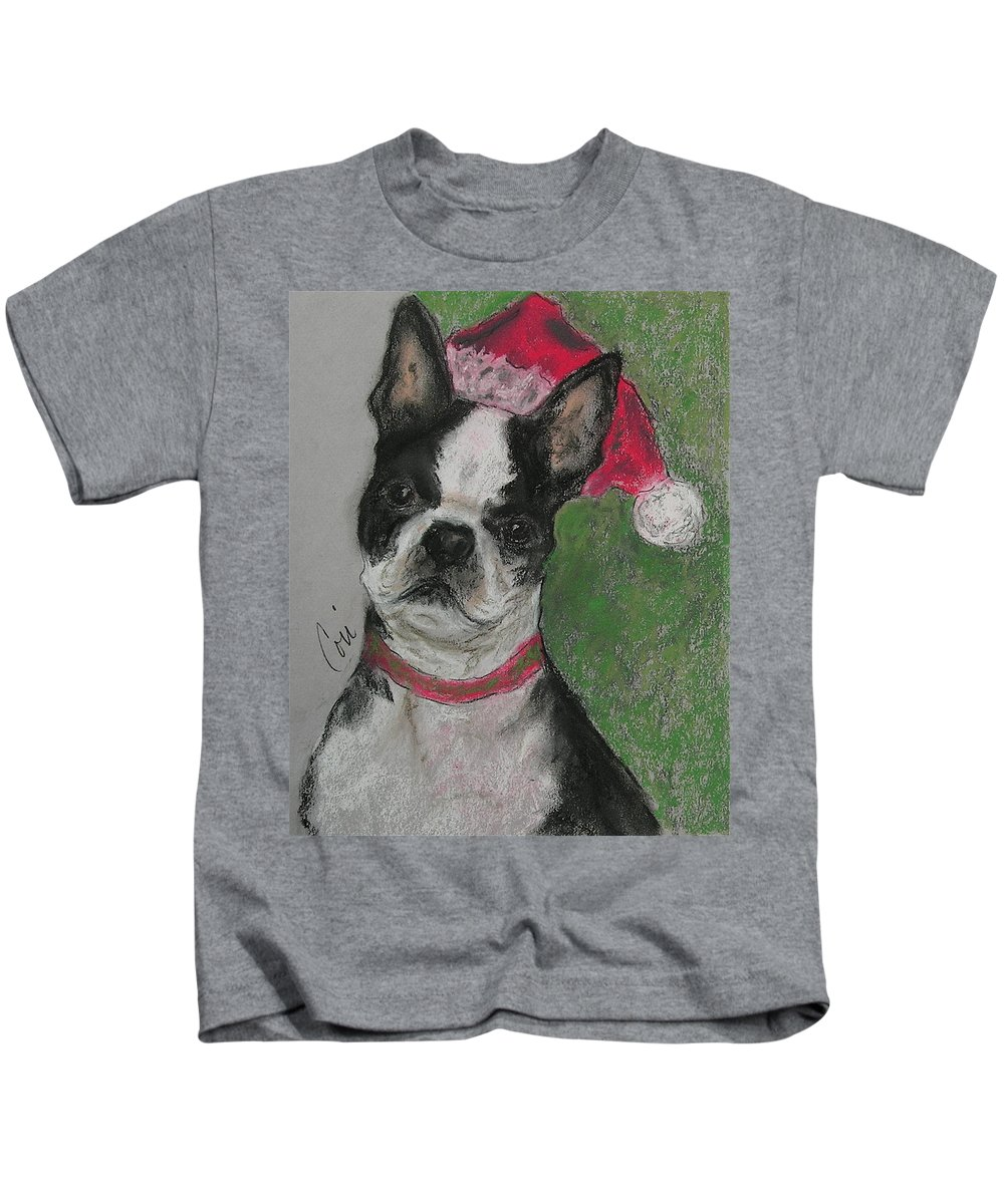 Boston Terrier Kids T-Shirt featuring the drawing A Christmas Terrier by Cori Solomon