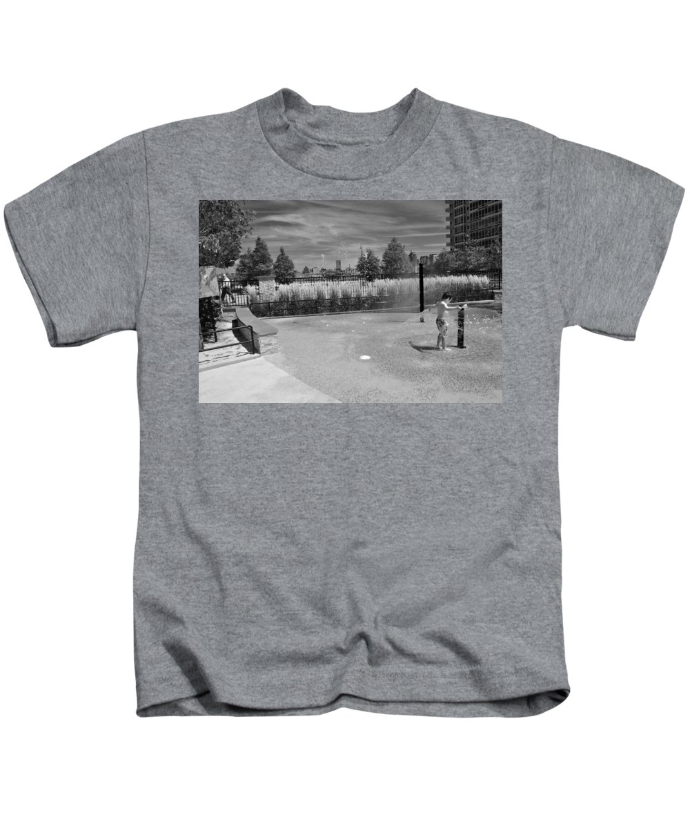 Black And White Photo Kids T-Shirt featuring the photograph A Day In The Park by Christine Crowley