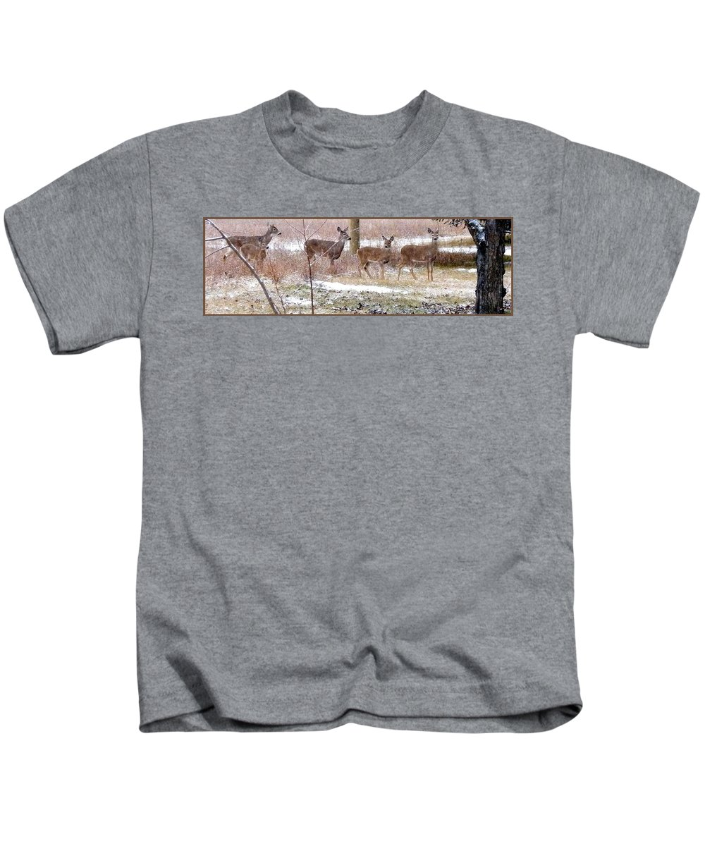 A Dusting On The Deer Kids T-Shirt featuring the photograph A Dusting On The Deer by Will Borden