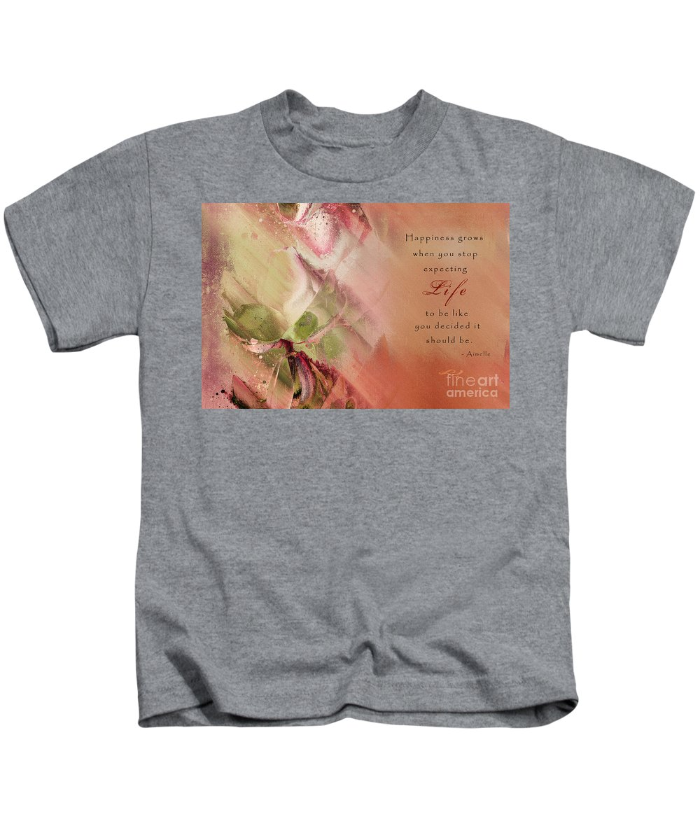 inspirational Quote Kids T-Shirt featuring the digital art A Fleur De Peau - Happiness Quote 03 by Aimelle