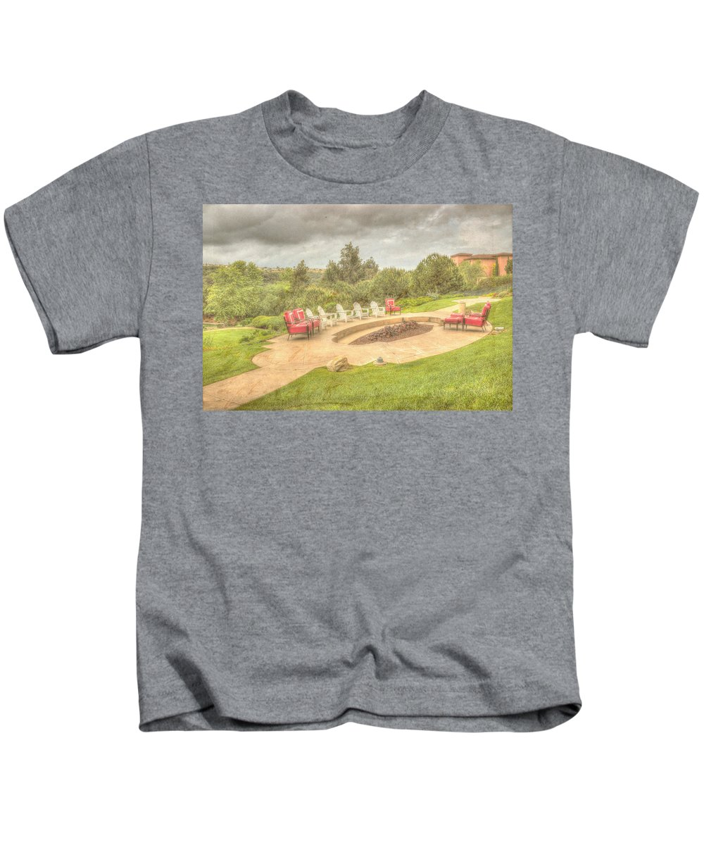 Architecture Kids T-Shirt featuring the photograph A Gathering Of Friends by Heidi Smith