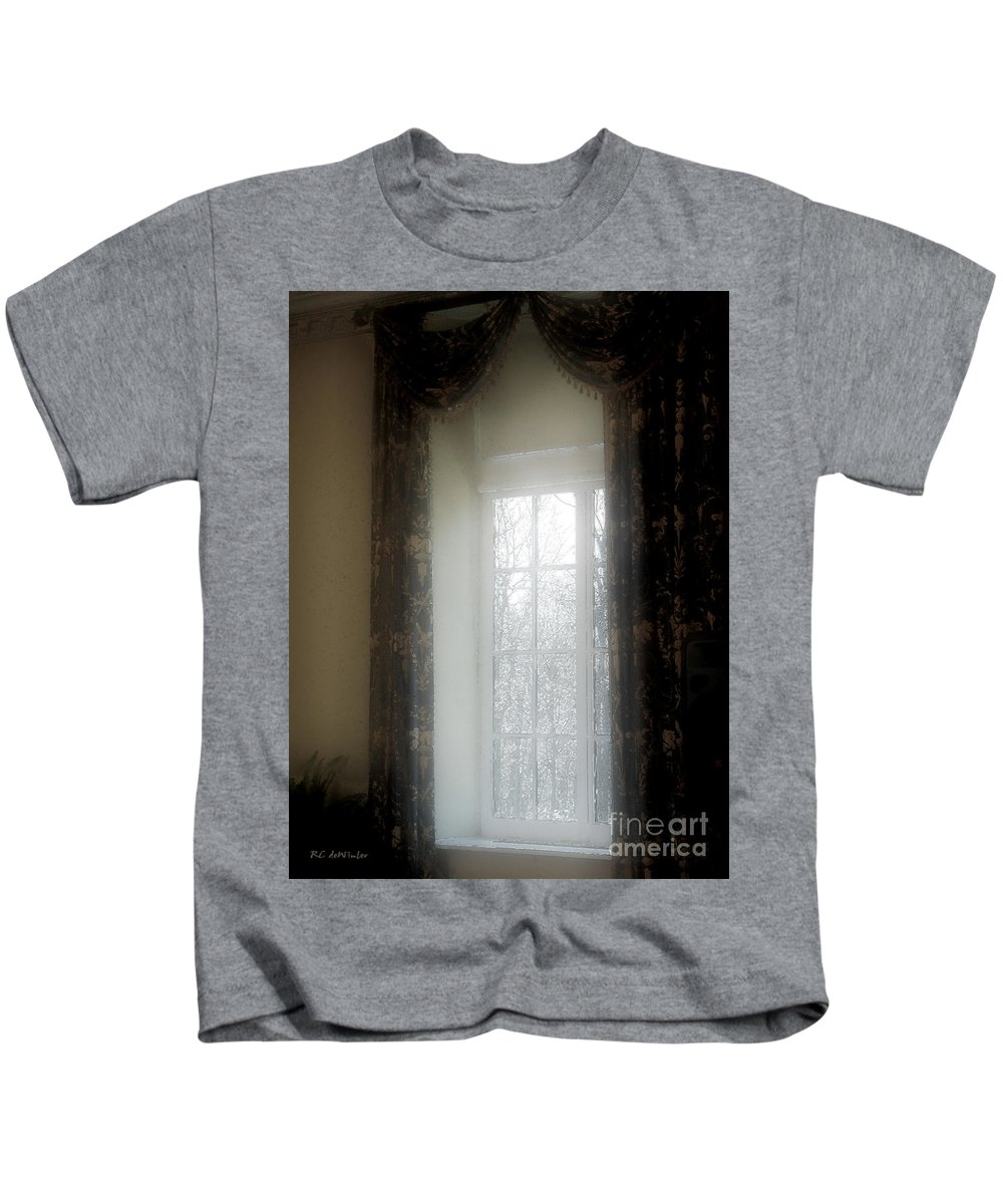 Curtains Kids T-Shirt featuring the painting A Hazy Shade Of Winter by RC DeWinter