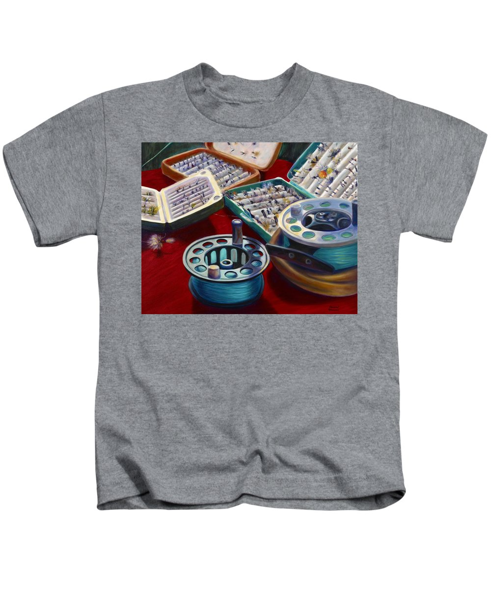 Still Life Kids T-Shirt featuring the painting A Howard Runs Through It by Shannon Grissom