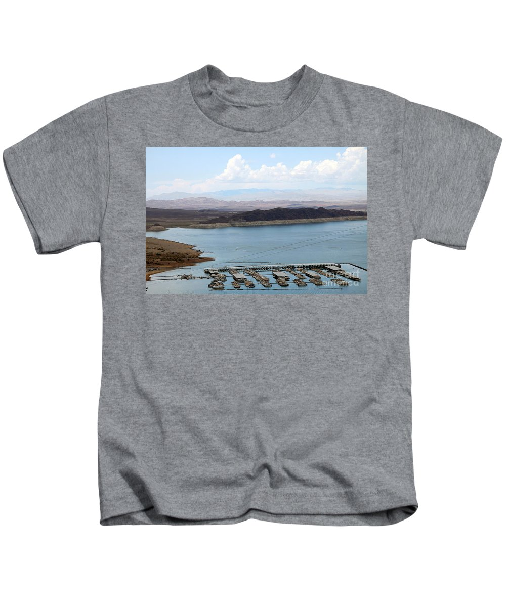 Lake Mead Kids T-Shirt featuring the photograph A Lake Mead Marina by Christiane Schulze Art And Photography