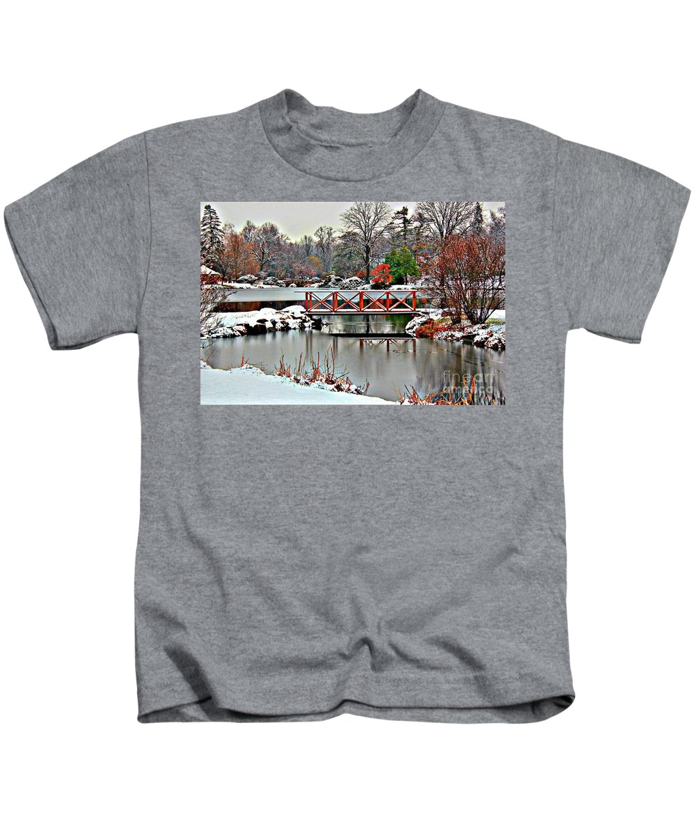 Winter Kids T-Shirt featuring the photograph A Light Dusting Of Snow by Judy Palkimas