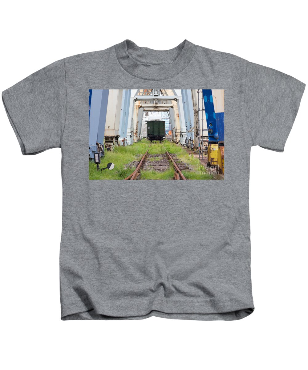 Abandoned Kids T-Shirt featuring the photograph Abandoned Industrial Dock by Jannis Werner