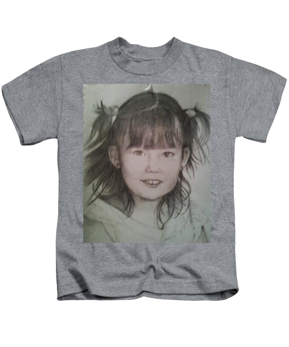 Kids T-Shirt featuring the drawing Abigail by Hae Kim