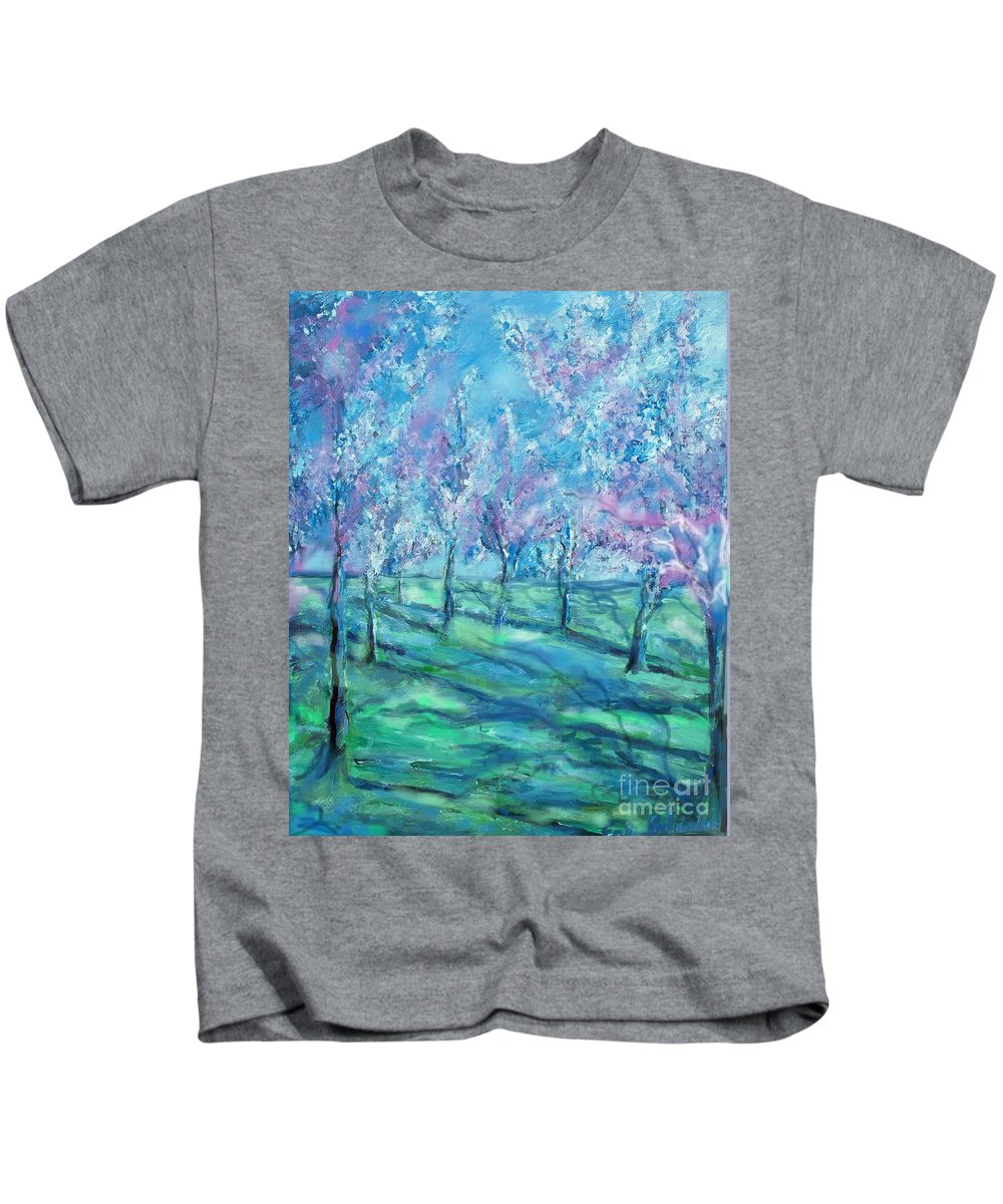 Abstracts Kids T-Shirt featuring the painting Abstract Cherry Trees by Eric Schiabor