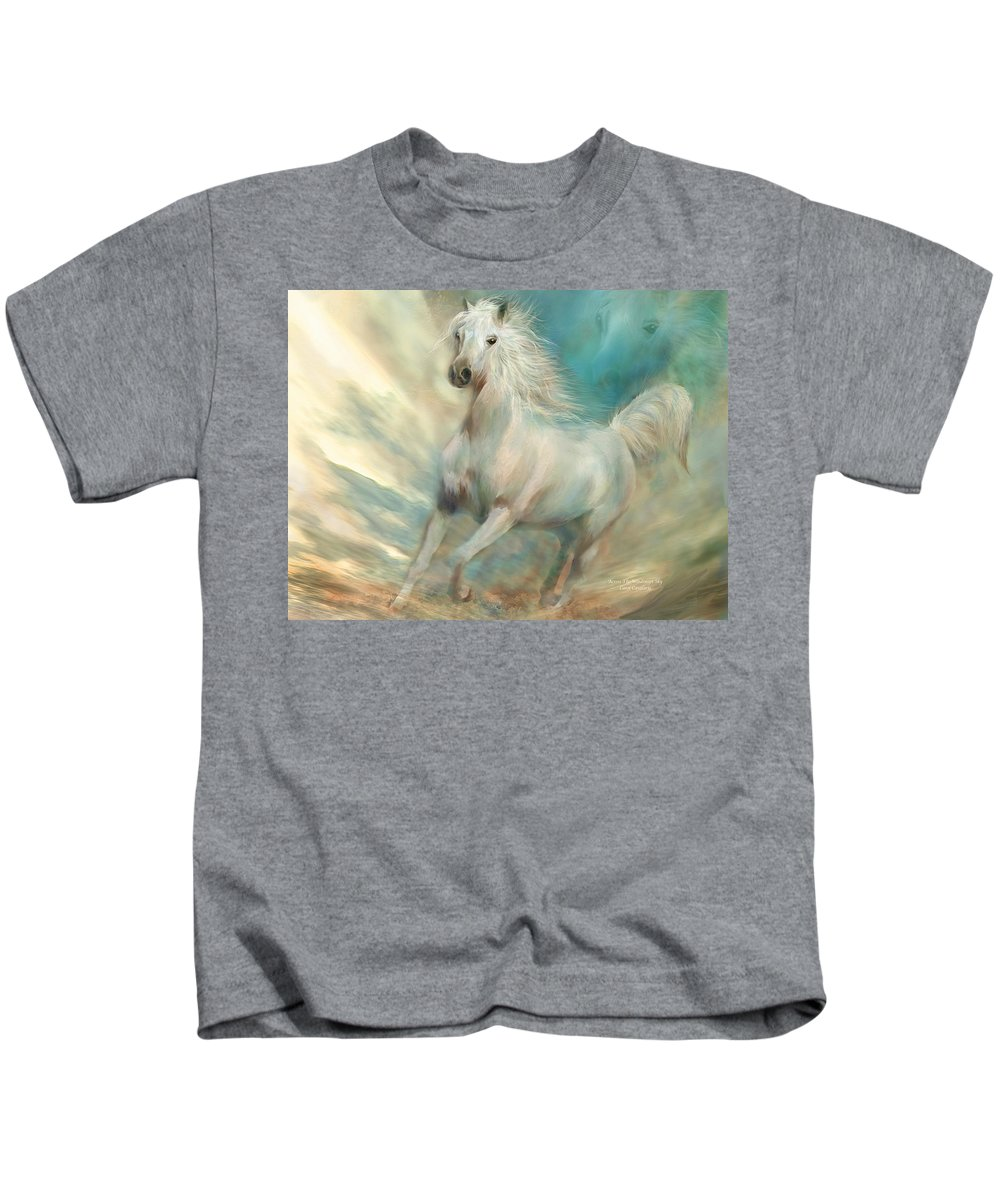 Horse Kids T-Shirt featuring the mixed media Across The Windswept Sky by Carol Cavalaris