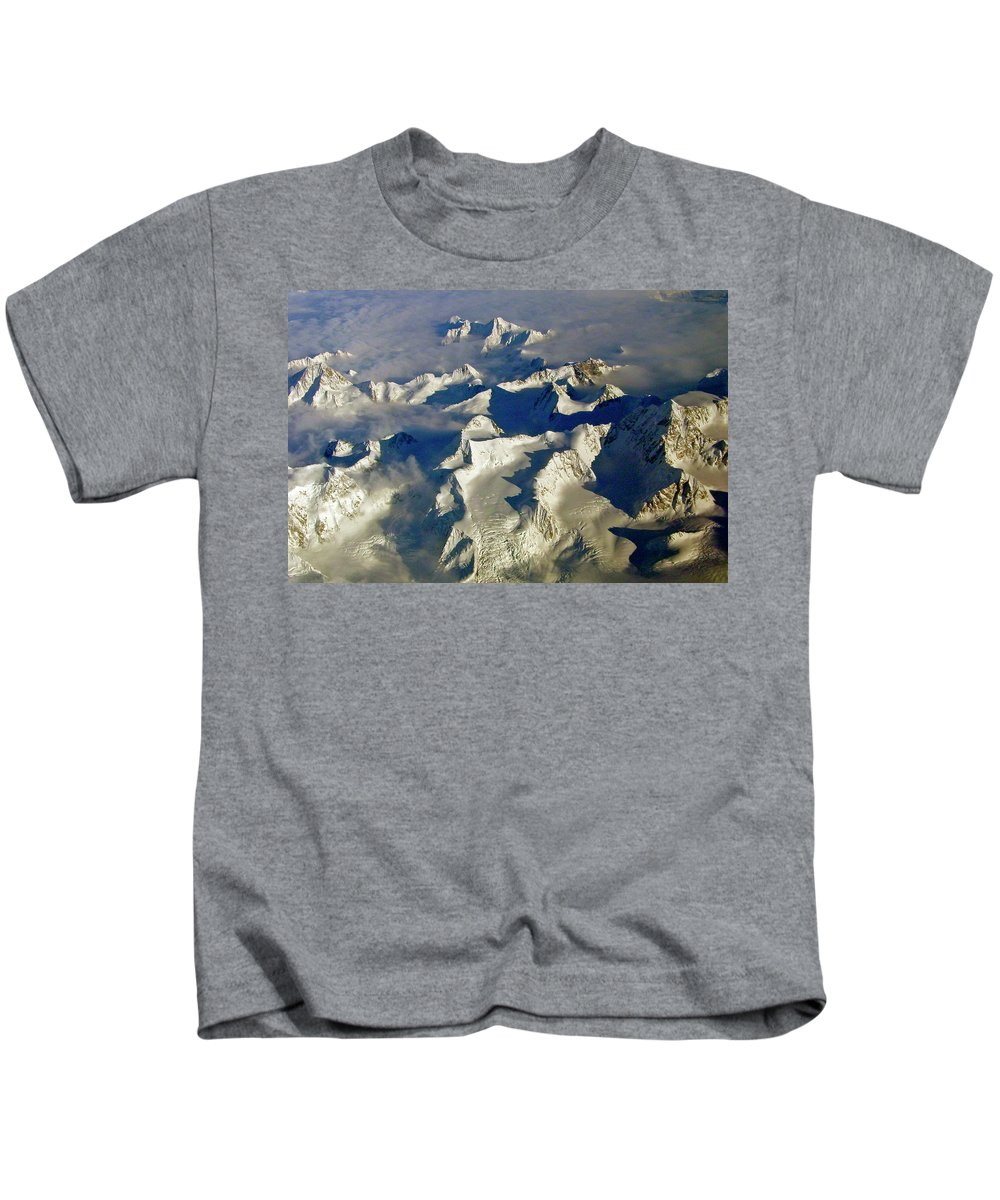 Aerial Photography Kids T-Shirt featuring the photograph Aerial Ice Fields by Jeremy Rhoades