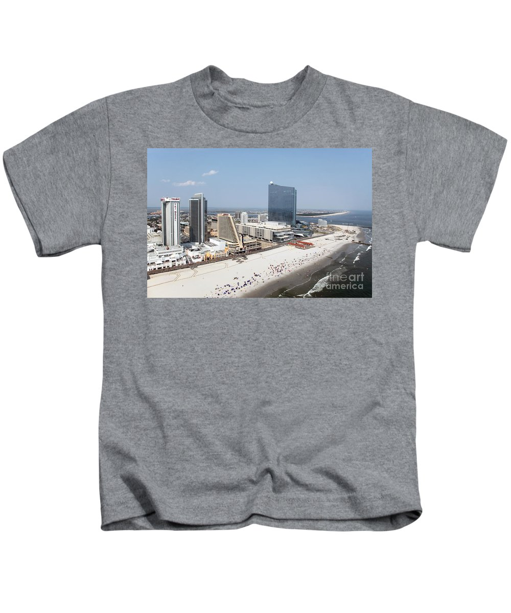 Aerial Kids T-Shirt featuring the photograph Aerial Of Downtown Atlantic City by Bill Cobb