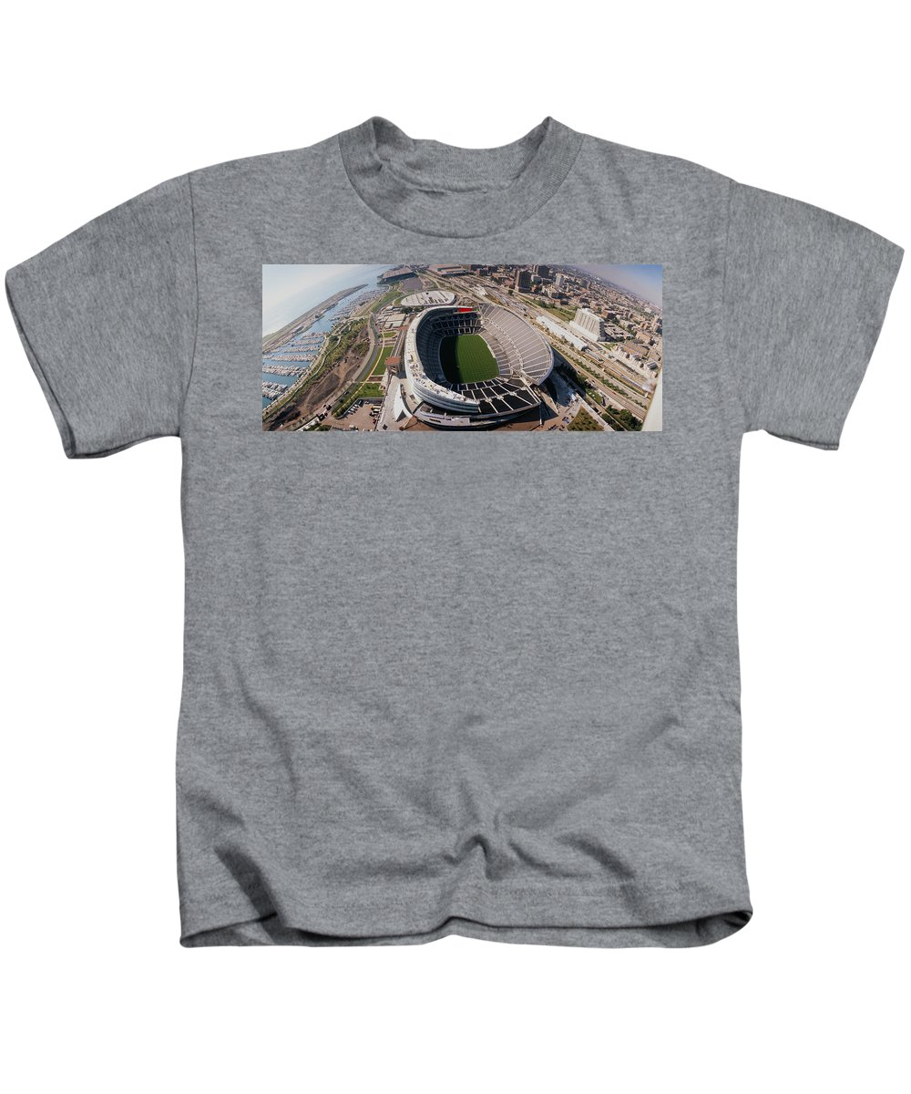 Photography Kids T-Shirt featuring the photograph Aerial View Of A Stadium, Soldier by Panoramic Images