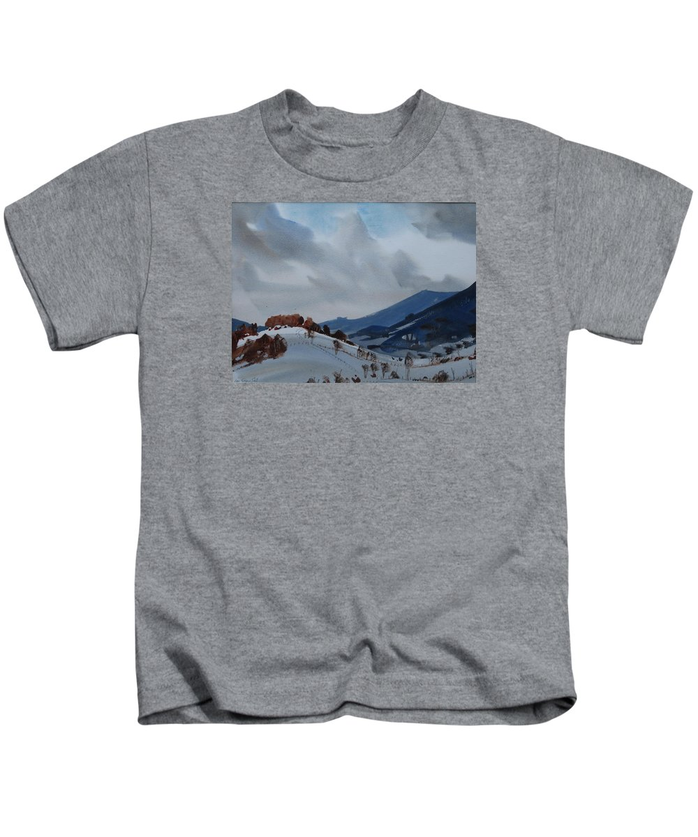 Berkshire Hills Paintings Kids T-Shirt featuring the painting Airyhill by Len Stomski