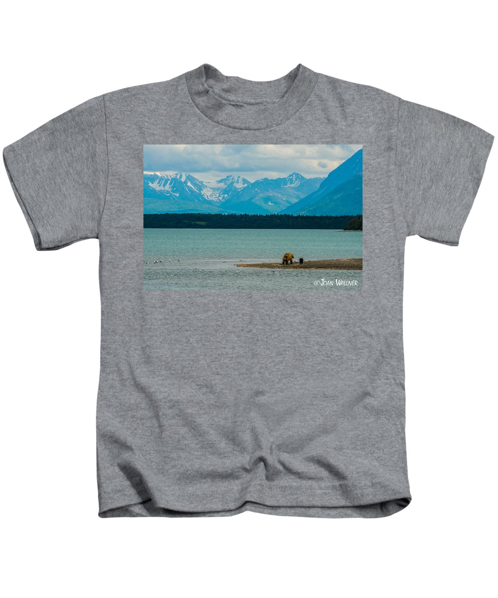 Alaska Kids T-Shirt featuring the photograph Alaskan Grizzly And Spring Cub by Joan Wallner