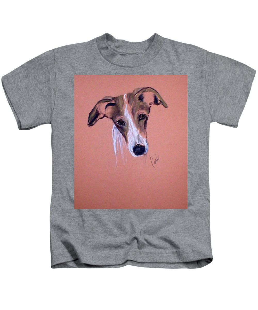 Whippet Kids T-Shirt featuring the drawing All Ears by Cori Solomon