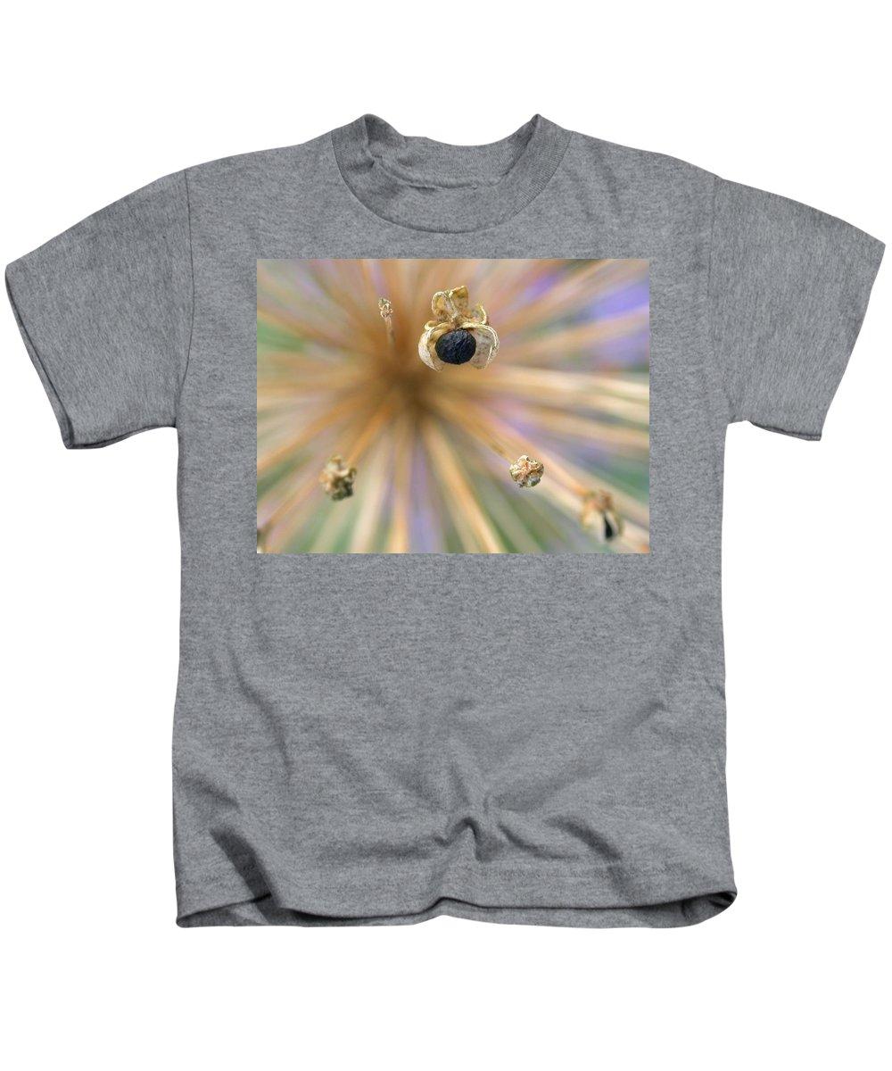 Allium Lucille Ball Kids T-Shirt featuring the photograph Allium Lucille Ball Seedpod by Cynthia Wallentine