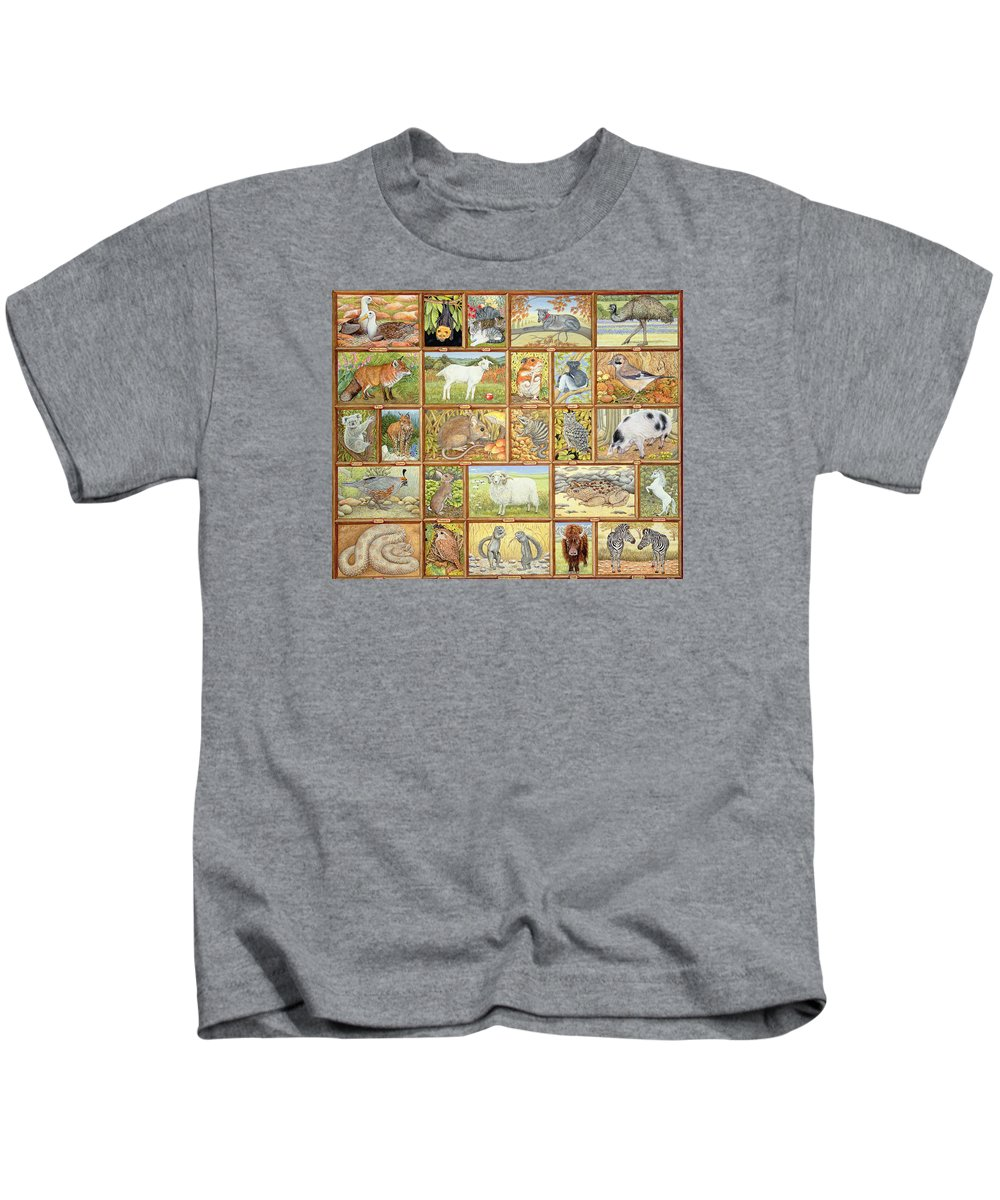 Albatross Kids T-Shirt featuring the painting Alphabetical Animals by Ditz